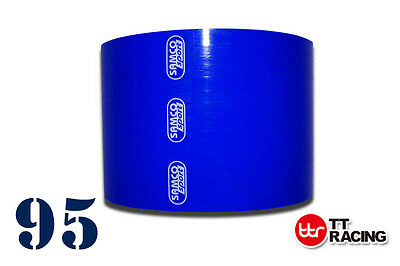 """3-ply Silicone Straight Coupler Coupling Hose Pipe Blue 95mm / 3.74"""" Samco"""