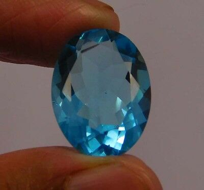 8 Cts. Natural Dyed Faceted Swiss Blue Topaz Quartz Cut Loose Gemstone (NF69)