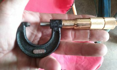 """Starrett Outside Micrometer 0-1"""" GOLD PLATED prize Made in USA"""