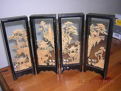 Chinese Carved Cork Diarama In The Form Of A Miniature 4-Panel Room Divider