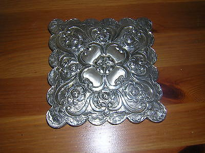 Continental Silver  Mirror With Repousse Design