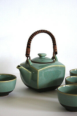 Japanese Tea Set - Ceramic - Brand New - 4 Cup - Turquoise - Green - Mingei
