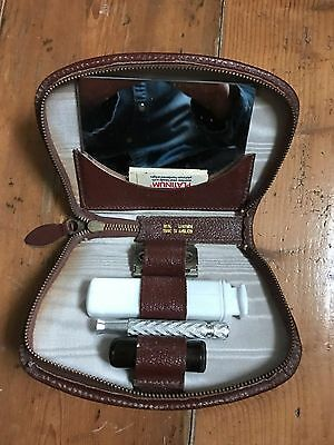 Vintage Leather Grooming Case With Razor Etc In Original Box