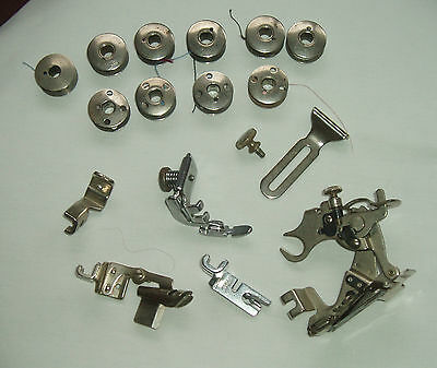 Vintage 6 ASSORTED SINGER / SIMANCO SEWING MACHINE ATTACHMENTS and BOBBINS
