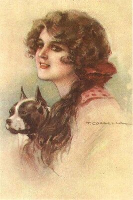 Vintage Boston Terrier w  Lady T. Carbello 1919 ~ New  Large Note Cards