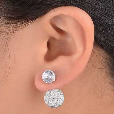 Silver Two Ball Double Crystal Cuff Silver Plated Stud Earrings Yoocart