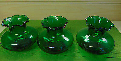 Bulb Vases Forcing Emerald Green Ruffled Lot of 3 Matching