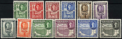 Somaliland Protectorate 1942 SG#105-116, 1/2a-5R KGVI Definitives MH Set #D41509