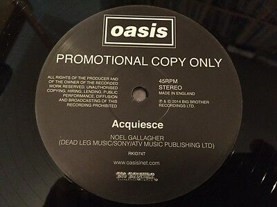 "Oasis - Acquiesce - One Sided Rare Promo 12"" Unplayed In Card Sleeve"