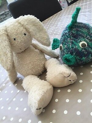 Mothercare Plush Soft Play Rabbit White 36 x 17cm & Knitted Green & Blue Fish