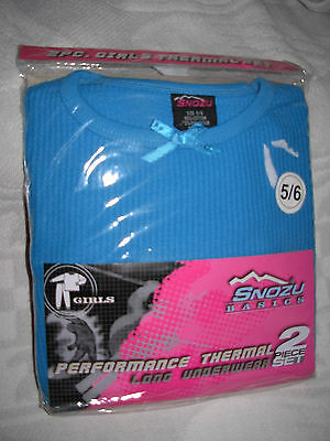 New Quality Blue Size 5 - 6 Girls Performance Thermal Underwear Set Long Johns