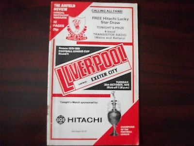 Liverpool v Exeter City Programme FL Cup R4 30.10.1979
