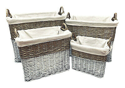 Strong Deep White Wicker Storage Home Log Hamper Laundry Basket Handles Lined