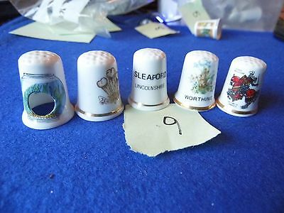 5 collectable china thimbles