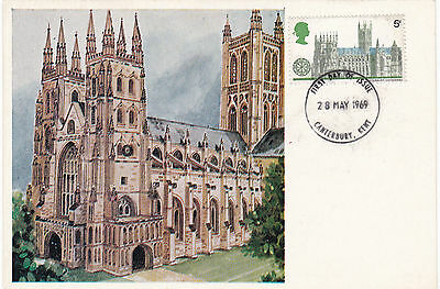28 May 1969 Canterbury Cathedral Cameo Phq Forerunner Postcard Canterbury Fdi