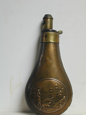 Antique Brass And Copper Black Powder Flask By James Dixon & Sons
