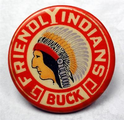 "Old Cello Pinback FRIENDLY INDIANS ""BUCK"" pictorial (YMCA?) 32mm pin ME1499"