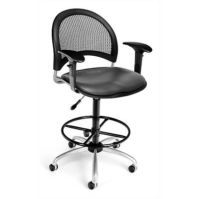 OFM Moon Swivel Vinyl Chair with Arms and Drafting Kit, Charcoal