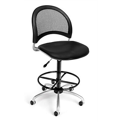 OFM Moon Swivel Vinyl Chair with Drafting Kit, Black