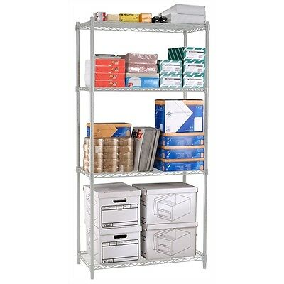 OFM Heavy Duty 4 Shelf Storage Unit 36 x 72 x 24, Silver