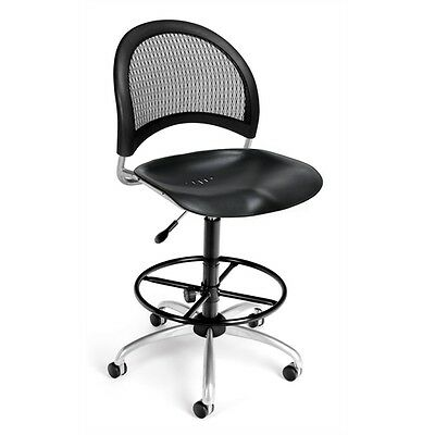 OFM Moon Swivel Plastic Chair with Drafting Kit, Black