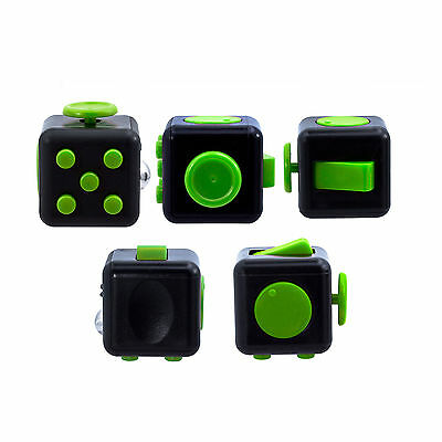 1-5Pack Black&Green Fidget Cube Anxiety Stress Attention Relief Toys and Case