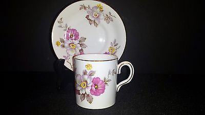 Royal Chelsea England Demitasse Cup & Saucer Pink & Yellow Flowers