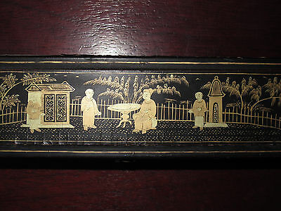 Antique Chinese Export 19thC Hand Fan Case Box Black Lacquer Gold Gilt - RARE