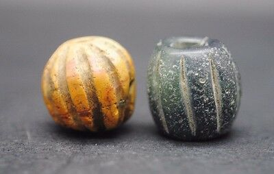 Group Of 2 Viking Glass And Stone Beads 9Th - 11Th Century Ad
