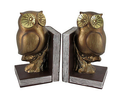 Metallic Finish Retro Perched Owl Bookends Set of 2
