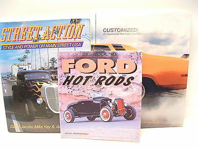 3 BOOKS - Ford Hot Rods + CUSTOMIZED + Street Action: Muscle Cars, Rods ALL GOOD