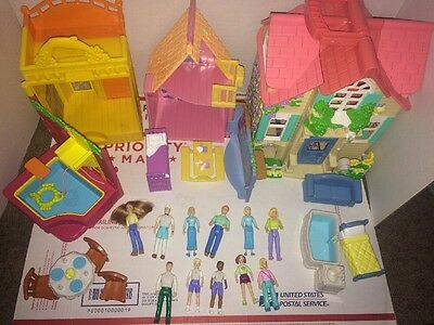 2001 MATTEL FISHER PRICE SWEET STREETS House , People And Accessory Lot