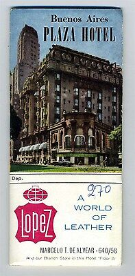 Plaza Hotel Directory and Buenos Aires Argentina Map 1960's