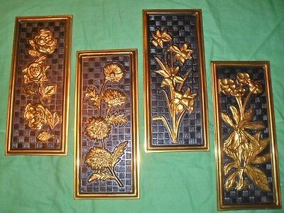 Vtg. 4-LOT ELPEC Made In ENGLAND Decorative Floral Design Brass Wall Plaques