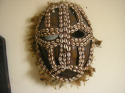 ANTIQUE 19th Century FAUX TURTLESHELL ANd COWRIE MASK
