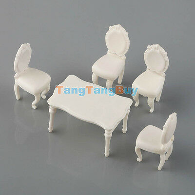 5pcs 1:25 White Model Table with 4 Chairs Dining Room Set  Inner Scenery G Scale
