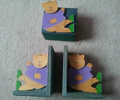 Children's Wooden Book Ends and Money Box