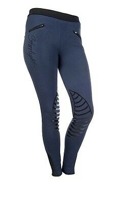 New Arrival! Hkm Starlight Ladies Pull-On Silicone Grip Breeches In Navy/black