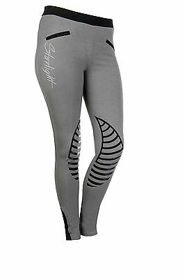 New! Hkm Starlight Ladies Pull-On Silicone Grip Breeches In Grey/black