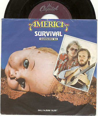 """AMERICA Survival / Only game in town Sanremo 1982 CAPITOL ITALY EX++ 7"""" 45 GIRI"""