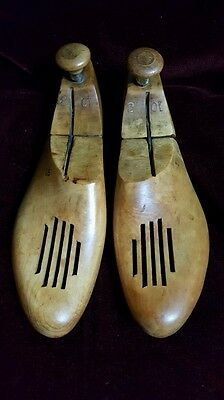 Vintage Men's Wooden Adjustable Shoe Tree Stretchers #22 And 10  3 On Top