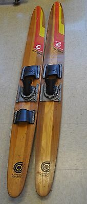 "VINTAGE WOODEN CYPRESS GARDENS DICK POPE JR WATER SKIS WOOD 67 "" inch old"