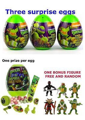 3 Teenage Mutant Ninja Turtle Eggs With Toy, Stickers And Candy 1 FREE FIGURE