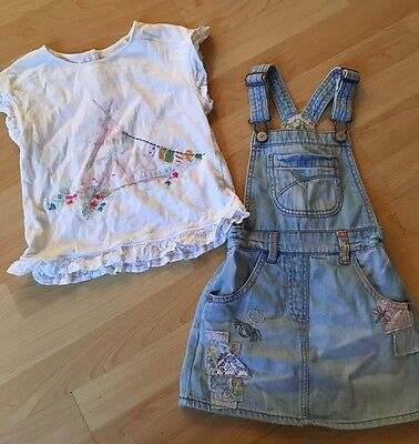 Beautiful Little Girls Next Top & Dress Pinafore Outfit Set Age 3 - 4 Years