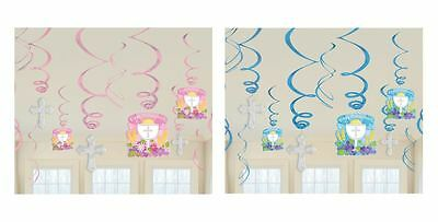 Pack Of 6 First 1st Holy Communion Hanging Party Foil Cross Swirls Decorations