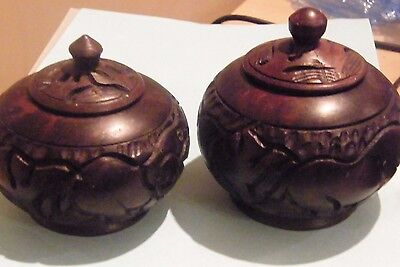 2 African VIntage Wood  Carved Round Lidded Pots Very Similar But 1 .45Smaller