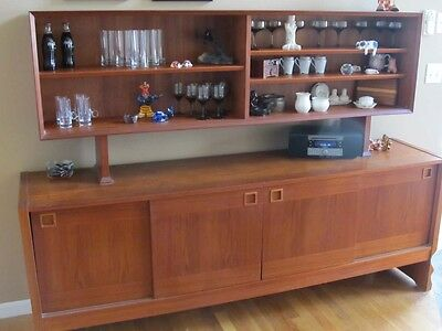 Vintage Mid Century Danish Modern Teak China Cabinet Buffet / Sideboard / Hutch