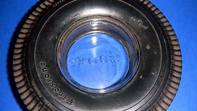 "Nice Vintage Firestone Rubber Tire w/embossed ""Firestone"" Glass Ashtray"