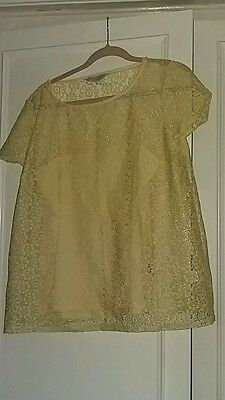 maternity top lace yellow size 16 dp