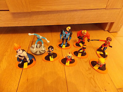 Disney Store Incredibles Figures Hard Plastic X 9 Cake Toppers